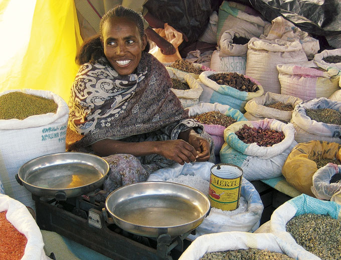 Kurs Kleinhandel: Nach erfolgreicher Ausbildung laufen die Geschäfte auf dem Markt in Endaselassie mit Rohkaffee, Gewürzen und Getreide für diese ehemalige Teilnehmerin viel besser.