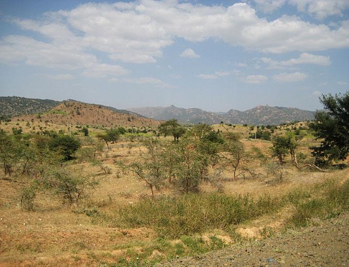 Die savannenartige Landschaft des Tigray im Norden Äthiopiens ist bergig und sehr trocken. Die Regenzeit zwischen Juni und September setzt dem Boden zu, wäscht ihn aus und hinterlässt mancherorts erodiertes Gelände.