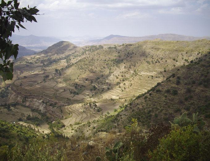Projektregion Tigray/ Nord-Äthiopien. Durch seine Lage im Niederschlagsschatten des Hochlandes ist der Tigray besonders regenarm und stark von Dürre bedroht. Wichtigster Erwerbszweig seiner Bevölkerung ist die Landwirtschaft.