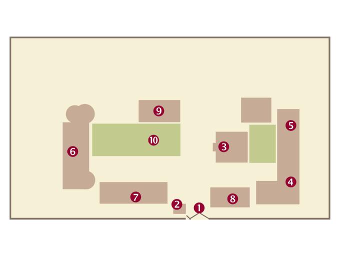 Geländeplan 2014: (1) Eingang, (2) Wache, (3) Wartebereich, (4) OPD, (5) Labor, (6) Entbindungsklinik, (7) Mutter-Kind-Bereich, (8) Lager, (9) Schulungsgebäude, (10) Lehrgarten.